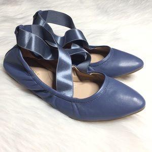 Taryn Rose  6B Blue X Strap Ballet Pointed Flats